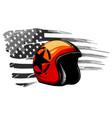 orange motorbike classic helmet with clear glass vector image vector image