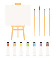 painting tools elements cartoon colorful set vector image