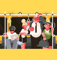 passengers in subway car vector image