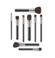 realistic detailed 3d makeup tools brush vector image vector image