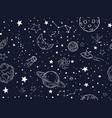 seamless night sky stars pattern sketch moon vector image