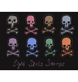 set 8 images of skulls stamps vector image vector image