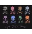set 8 images of skulls stamps vector image