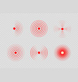 set red painful target spot pain circles sonar vector image vector image