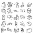 shopping set icon doodle hand drawn or outline vector image