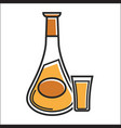 shot and bottle with alcohol drink vector image vector image