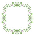 spring blossom frame with leaves and flowers vector image vector image