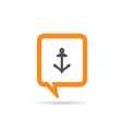 square orange speech bubble with anchor one vector image vector image