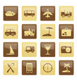 travel transportation tourism and holiday icons vector image