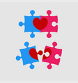 two pieces puzzle of love heart valentine day vector image