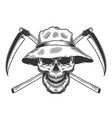 vintage skull in panama hat vector image vector image