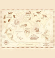 vintage world map with wild animals and mountains vector image vector image