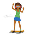 woman in headphones riding a skateboard vector image