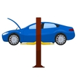 Blue sports sedan on a lift vector image