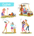 golfers funny cartoon characters set vector image