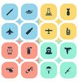 set of 16 simple war icons can be found such vector image