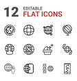 12 planet icons vector image vector image