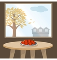Apples on table by window vector image vector image