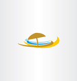 beach icon logo tourism sea umbrella vector image