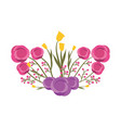 beautiful floral bunch of flowers arrangement vector image