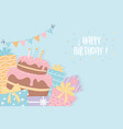 birthday cake with candles presents pennants vector image vector image