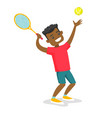 black tennis player playing tennis vector image vector image