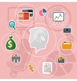 Business management flat design icons set vector image