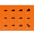 Cars and Transport icons on orange background vector image vector image