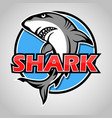 cartoon shark mascot with blue circle on gray vector image vector image