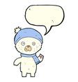 cartoon waving polar bear with speech bubble vector image vector image