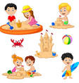 children playing sand castle and surfboard vector image