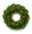 christmas wreath with berry cone leaves vector image vector image