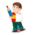 clever boy is holding paper and big pencil vector image vector image