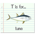 Flashcard letter T is for tuna vector image