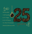 floral card number twenty five and pocket watch vector image vector image