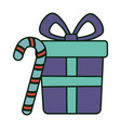 gift box and candy cane celebration merry vector image
