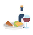 happy thanksgiving day dinner wine bottle corn and vector image vector image