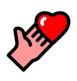 heart giving hand vector image vector image