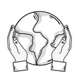 line hands with global earth planet and geography vector image vector image