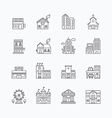 linear web icons set - buildings collection vector image