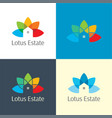 lotus estate real logo and icon vector image vector image