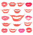 lovely smiles collection print of lips set vector image vector image