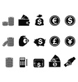 Money and coin icons set
