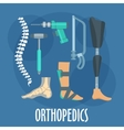 Orthopedics and prosthetics icon for clinic design vector image
