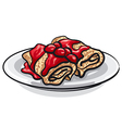 pancakes and cherry jam vector image vector image