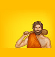 pop art caveman in fur loincloth vector image vector image
