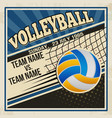 retro voleyball poster design vector image vector image