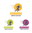 running man silhouette in a circle logo vector image