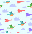 seamless pattern with cartoon birds and clouds vector image