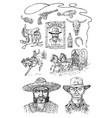 set cowboys western icons texas ranger vector image